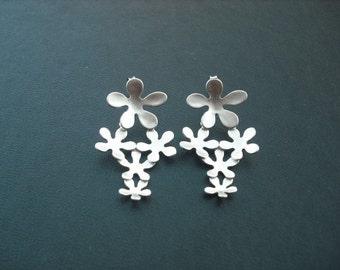 Bridesmaid Earrings, Silver Multi Floral Post Earrings, Sterling Silver Post
