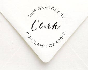 Personalized Calligraphy Name Address Stamp, Personalized SELF INKING Stamp, Custom Circle Address Stamp