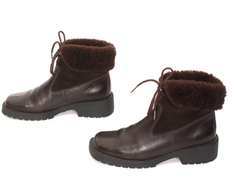 size 9 PLATFORM brown leather 80s 90s GRUNGE FUR lined lace up ankle boots