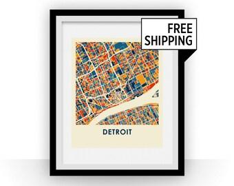 Detroit Map Print - Full Color Map Poster