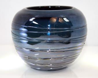 Small Blue Semi-Reflective Art Glass Vase - Mid-Century - Handmade - Unsigned