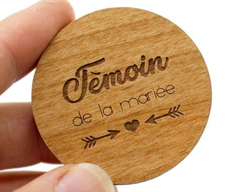 Magnet witness of the married. Small original gift in engraved wood, request as a wedding witness. Customizable, 3 colors to choose