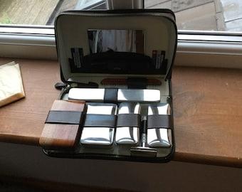 Gentlemen's vintage travel case part leather part material with Gillette accessories