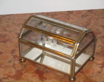 1980's Mirrored Brass Glass Stash Jewelry Catch Display Box! #CG