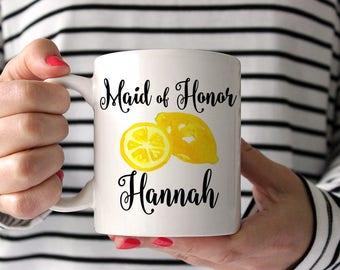 Lemon Wedding Maid of Honor Mug - Lemon Mug Bridesmaid Proposal Mug - Coffee Mug - Bridesmaid Mug - Bridesmaid Gift Mug - Wedding Mug Gift