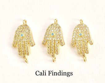 18K Gold Plated Hamsa Connector with Turquoise Center, Pave Hamsa, Gold Hamsa, Cz Hamsa, Cz Evil Eye, Hamsa Charm, Cz Connector [1600]