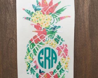 Pineapple monogram decal, paisley, Lilly Pulitzer inspired, summer prints yeti decal, car decal