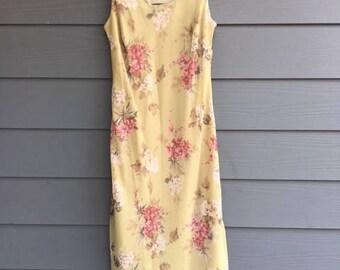 light green 90s floral summer dress size M/L