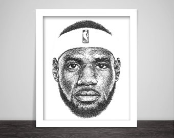 Scribbled LeBron James - Poster