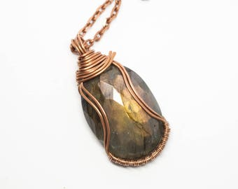 Copper & Labradorite Pendant, Labradorite Wire Wrapped Pendant, Gift for Her, Labradorite Necklace, Long Necklace, Statement Jewelry