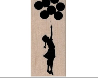 Rubber stamp Banksy Girl Floating With Balloons/scrapbooking supplies number 19421