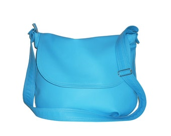 sky blue messenger bag, sky blue crossbody bag, blue vegan crossbody bag, blue faux leather messenger bag, blue faux leather crossbody bag