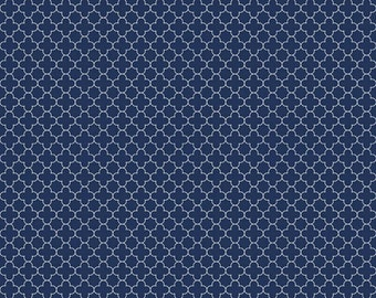 Mini Quatrefoil Fabric in navy  - Fabric by the yard