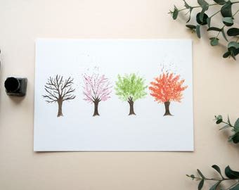 Mothers Day Gift Idea | Seasons Trees Watercolour Print | A4 Wall Print | Home Decor | Gift For Nature Lover | Autumn Spring Summer Winter
