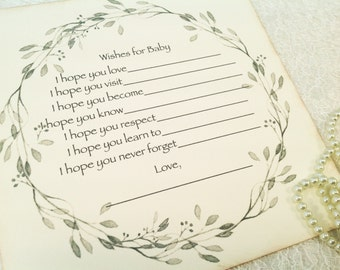 Wish cards for baby- gender neutral baby shower games and wish tree cards-baby shower-fill in the blank game-set of 12