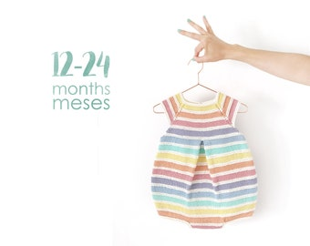 Size 12- 24 months- Rainbow Romper PDF Knitting Pattern- Instant Download