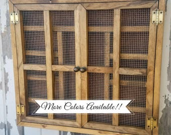 Rustic Cabinet {Large} Storage Shelf-Essential Oils, Young Living, Doterra, Nail Polish, Makeup, Decor