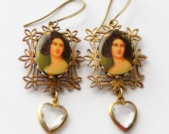 Portrait Earrings, Miniature Painting Jewelry, Heart Earrings, Glass Cameo Earrings, West German Glass, Art Major Gift, Painter Gift, SRAJD