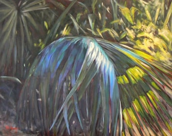 "Tropical Landscape Painting, Florida Painting BLUE PALMETTO,  16x20x1.5""  oil landscape"