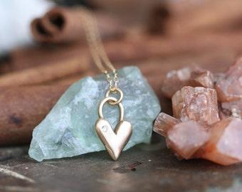 Beautiful Golden Bronze Heart set with little Gemstone Necklace hand cast Exclusive design