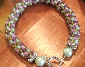 Olive Green and Mauve Multi Color Handmade Bead Crochet Bracelet