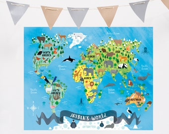 Custom world map etsy custom world map custom animal world map personalized animal world animal world map personalized nursery animal printable custom map gumiabroncs Gallery