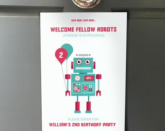 Robot Welcome Sign & Directional signs, Kids Birthday Party Decorations, Boys First birthday Party, Personalised PRINTABLE