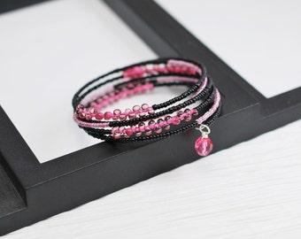 Memory Wire Wrap Bracelet, Hot Pink Bracelet, Black and Pink, Seed Bead Bracelet, Pink and Black, Wrap Bracelet, Memory Wire Bracelet