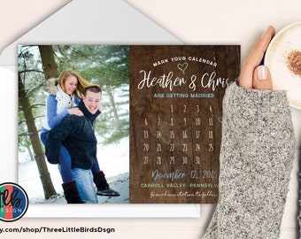 rustic mark your calendar save the date card calendar ohoto save the date calendar card dusty blue and green slate blue and green