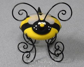Bumble Bee, Honey Bee Lucky Bug figurine, keepsake, photo holder, cake topper