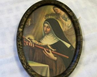 Saint Rita of Cascia Picture, Religious Picture, Catholic Art, Religious Wall Hanging,