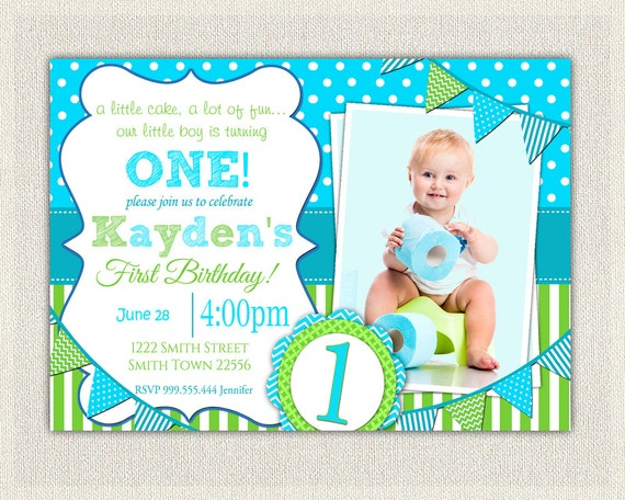 Boys 1st Birthday Invitation Blue and Green Dots Stripes