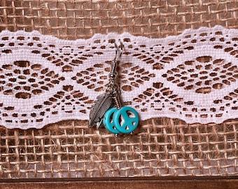 Peace Sign Feather Earrings - Dangle Earrings - Silver Plated Feather Earrings - Turquoise Peace Sign Earrings