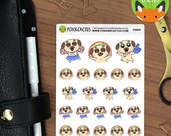 Cheering Positive Pete - Rainbow Happy Pug Cheer Celebrate Party - Planner Stickers (C0060)