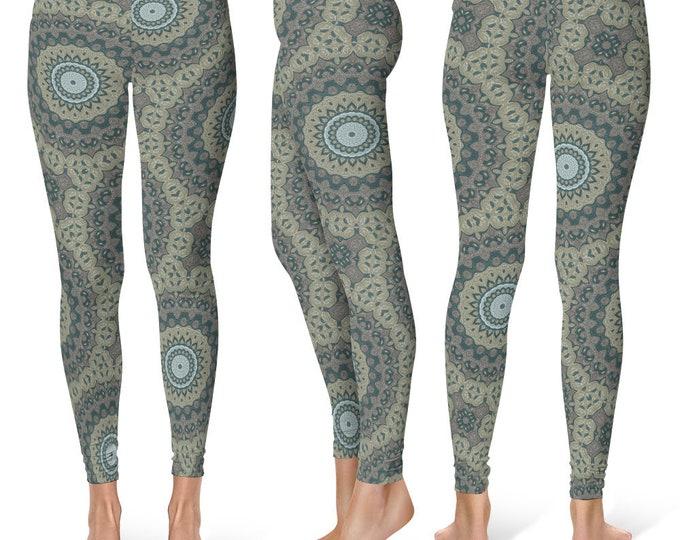 Burning Man Leggings Yoga Pants, Tribal Mandala Printed Yoga Tights for Women, Festival Clothing