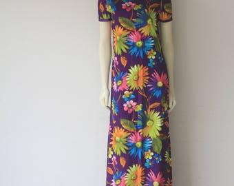 60's Vintage Cap Sleeve Psychedelic Floral Kawaii Maxi Dress
