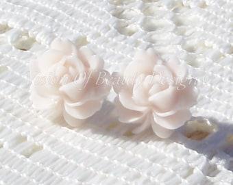 Blush Vintage Style Rose Stud Earrings