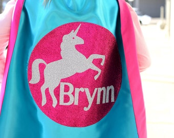 GIRLS Personalized SPARKLE UNICORN Superhero Cape - Full Name Hero Cape - Fast shipping - Girls Birthday - Easter ready