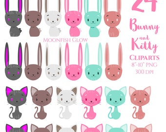 Cute Bunny Clipart, Cute Kitty Clipart, Commercial Use