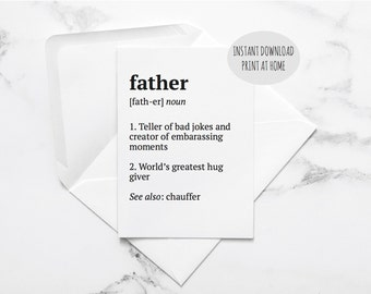 printable fathers day card, instant download birthday card for dad, fathers day gift, father definition card, dad definition, gift for dad