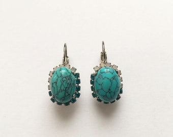 Turquoise Earrings, Swarovski crystal and Turquoise oval cabochon earrings, Boho jewelry