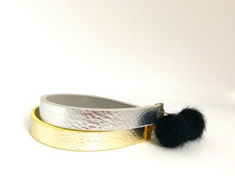 Gold or Silver metallic leather with Pompom and magnetic clasp closure
