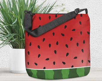 """Watermelon Tote Bag - Red Green Design - All Over Print 18"""" Tote Bag with Adjustable Handle and Zipper Pocket - Made to Order"""