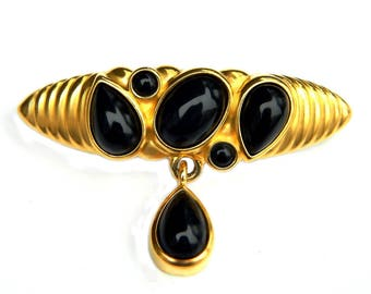 Black Glass Art Deco Style Bar Brooch With Dangle Gold And Black Mod Modern Art Deco Dangle Vintage Jewelry Bar Pin Gift Idea For Women