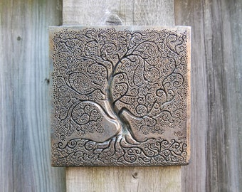 Gift for Grandma Silver Tree of Life Art, Grandmother Garden Gift, Tree of Life Sculpture, Pewter Tree Sculpture Wall Art