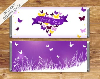 Instant Download Butterfly Candy Bar Wrappers - Baby Shower Candy Wrappers - Purple Butterflies - Thank You