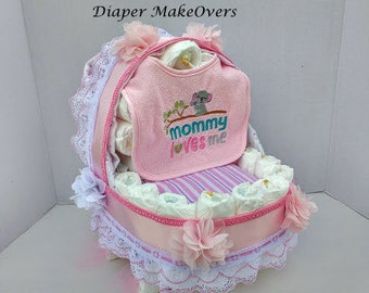 Carriage Diaper Cake, Diaper Cake, Girl Diaper Cake, Unique Baby Shower Gift, Shower Centerpiece, Baby Gift