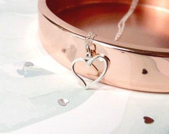 Heart necklace, dainty anniversary gift for girlfriend, sterling silver jewelry, minimalist pendant women
