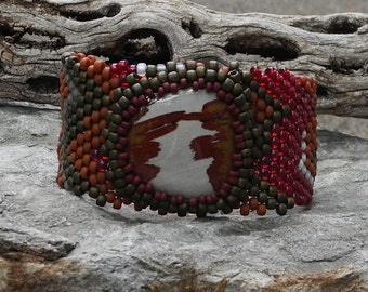 Free Form Peyote Stitch Beaded Bracelet Beaded Cuff Beaded Cabochon - Bead Weaving  - New Mexico Sunset - Owyhee Jasper