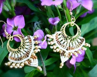 ethnic bridal earrings, indian weddings, bollywood earrings, ivory tribal earrings, boho earrings, macrame earrings, statement earrings,